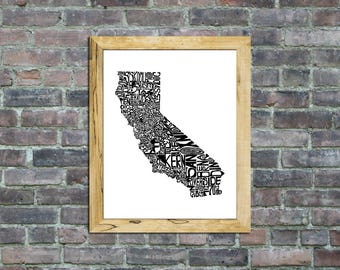 California typography map framed art print state poster wall decor engagement wedding housewarming birthday gift
