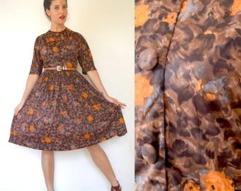 SUMMER SALE/ 30% off Vintage 50s 60s Cheetah and Floral Print New Look Shirt Waist Dress (size small, medium)