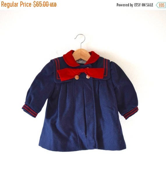 SUMMER SALE / 20% off Vintage 50s 60s On the Good Ship Rothschild Navy Blue and Red Wool Little Girl's Sailor Coat (size 2)