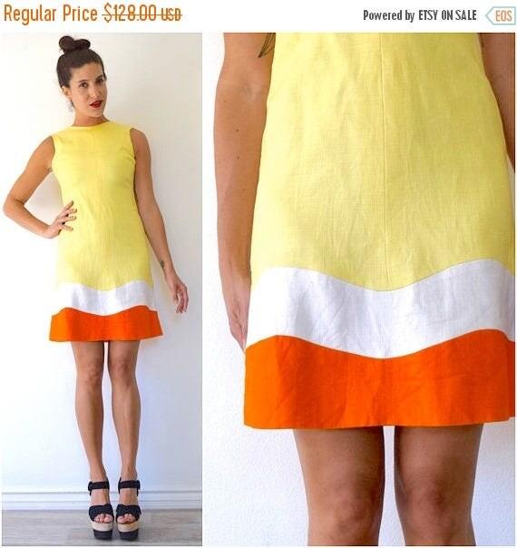 SUMMER SALE / 20% off Vintage 60s Make Lemonade Yellow Linen Orange and White Striped Shift Dress (size xs, small)