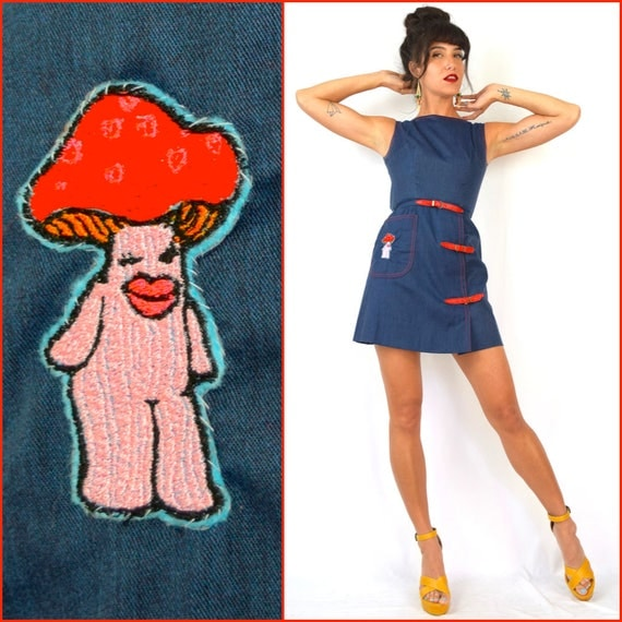 Vintage 60s Denim Look Mini Dress with Red Buckles and Eldowho Winking Mushroom Lady Patch (size xxs, xs)