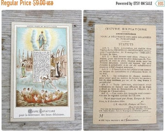 ON SALE Vintage Antique 1900 French Paper Holy Card  Oeuvre Expiatoire