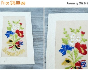 ON SALE Vintage antique 1900/1910 French  embossed postcard adorned with hand embroidered organdy fabric bouquet bonne fete