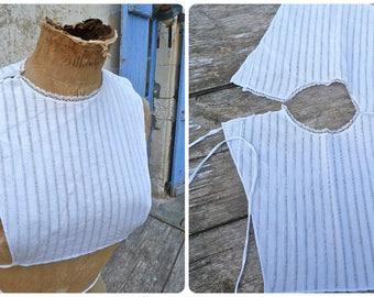 Vintage Antique 1900 French Edwardian white cotton collar plastron