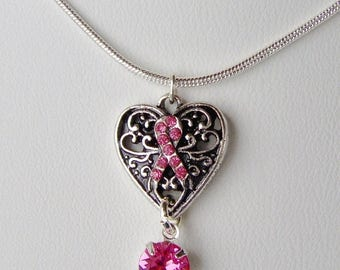 SALE Heart necklace / Breast cancer awareness / Pink ribbon / BCA / Survivor necklace / Swarovski crystal / Gift for her / In memory
