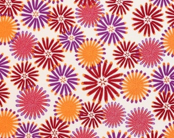FAT QUARTER - Zandra Rhodes Fabric, Feathered, Kaleidoscope, Berry, Floral, cotton quilting fabric