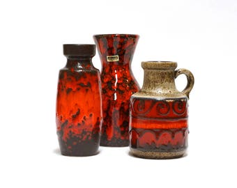 SCHEURICH West Germany Vases, set of 3 red ceramic vases, Fat lava, West German pottery, mid century modern home decor
