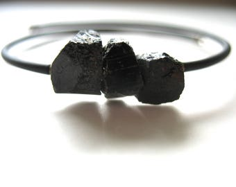 Tourmaline Bracelet, Black Tourmaline Stone Cuff Bracelet , Handmade Bracelet, Tourmaline Jewelry, Tourmaline, Black Tourmaline