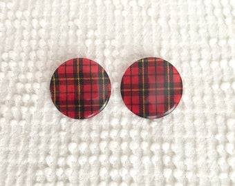 Vintage Tartan Plaid Button Style Pierced Post Earrings - Add some vintage fun to your wardrobe