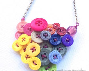 Funky Recycled Buttons Multicolor Statement Necklace - Designer Name Brand Buttons