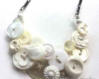 Something Old Something New Vintage Button Statement Necklace in White and Pearly - Wedding Bridal Jewelry