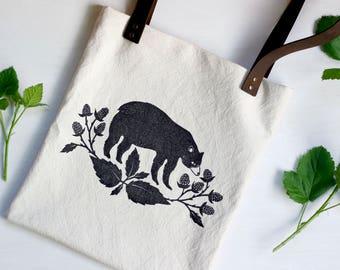 Black Bear Bag, Leather Straps Canvas Tote, Block Print, Linocut, Shoulder Bag, Book Bag, Cute Woodland Design, Mama Bear, Purse, Market Bag