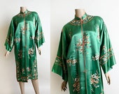 Vintage 1920s Chinese Silk Robe - Emerald Green Floral Embroidered Lounge Jacket - Antique Pyjamas - Art Deco - Fits Most - As Is