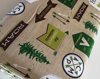 Outdoors fabric, Hike Camp Fish Hunt, Boy Room Decor, Baby Quilt, Tree Arrow, Blue Brown, Outdoors Main in Tan - Choose the cut