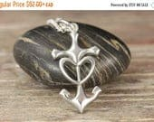 MATERNITY LEAVE SALE Cross Anchor Heart Sterling Silver Pendant - Nautical jewelry - Anchor ring - Anchor jewelry - Beach jewelry - Sailing
