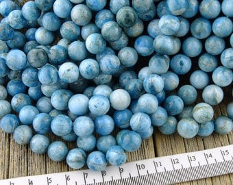 Apatite Beads, Light Blue Apatite Beads, 10mm Apatite, Round Beads, Light Teal Beads, Natural Apatite, White Beads, 10mm Beads, 10-10.9mm