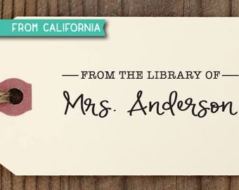 Custom LIBRARY STAMP with signature from USA, Rubber Stamp, Self Inking Stamp, Teacher Appreciation Gift, Book Lover, Book Worm, Library 15