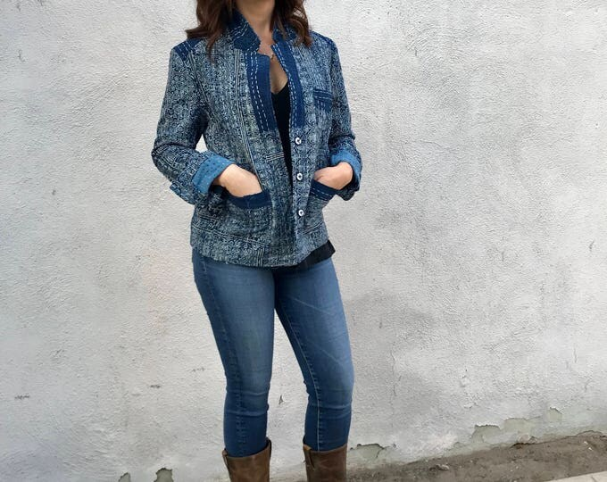 Indigo kantha quilt fitted jacket