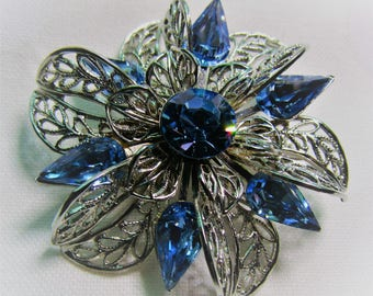 Vintage Silver Tone Pin Floral Design with Blue Faux Rhinestones