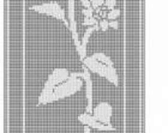 980 Sunflower filet crochet pattern wall hanging doily table mat curtain