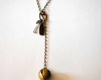 Ball Locket Long Necklace / Vintage Antique 20's Round Brass Locket Necklace Link Chain Swarovski Crystal Egyptian Relic Charm / Steam Punk