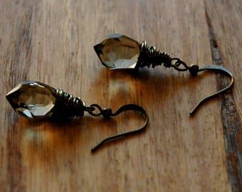 Gray Crystal Earrings / Silver Crystal Earrings / Antiqued Brass Wire Wrapped Earrings with Smokey Gray Crystal Pendants / Bridal Earrings
