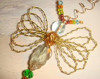 "My #9113 -A Clear/Gold Mix Fluttering Dragonfly/Ornament! Suncatcher -size 3.50""Wx4L"" A Cutie! Nice Gift!"