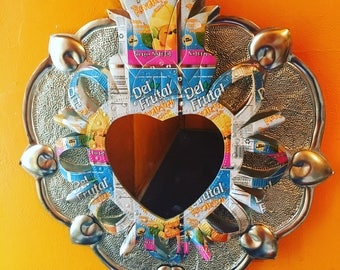 Recycled Metal and Punched Tin Mexican Heart Shaped Mirror