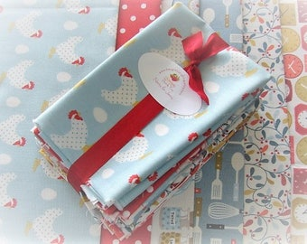 Fat Eights | Quilters Fabric Bundle | Lilas Kitchen | Mary Jane |  Moda | 6 Medium Prints | Eye Spy Quilt | Cute Retro Kitchen Themed Fabric
