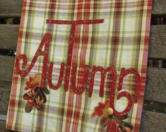 Autumn Tea Towel | Fall Leaves Dish Towel | Appliqued Autumn & Leaves | Rust Green Brown Plaid | Thanksgiving Decor | Fall Country Kitchen