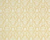 1930s Vintage Wallpaper by the Yard - Yellow and White Textured Damask