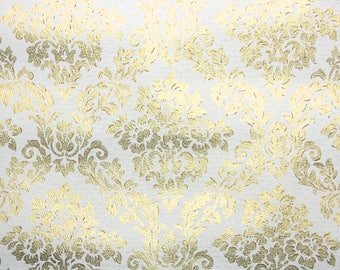 1960's Vintage Wallpaper by the Yard- Metallic Gold and White Damask