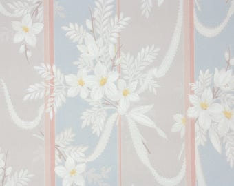 1940s Vintage Wallpaper by the Yard - Floral Wallpaper White Flowers and Ribbons on Pink Gray Blue Stripes