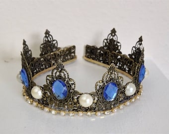 Renaissance Tiara, Crown, Medieval, Renaissance Jewelry, Tudor, Headpiece, Headdress, Renaissance Crown, Lady Charlotte - Sapphire & Pearl