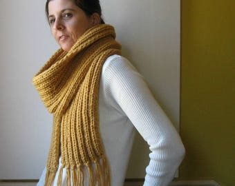 Ochre Wool Scarf - Chunky Knit Wrap with Fringes - Winter Accessories