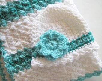 Crochet Baby Blanket Set, Baby Shower Gift, Baby Girl Blanket Set, Baby Carrier Blanket & Hat - White, Aqua - READY TO SHIP