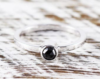 Black Diamond Ring Engagement Ring Sterling Silver Ring Diamond Ring Solitaire Ring Black Diamond Promise Ring Silver Diamond Ring