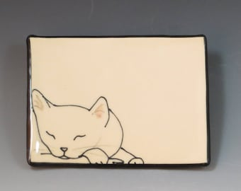 Handbuilt Ceramic Soap Dish with Cat