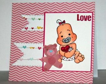 Adorable handmade baby girl card