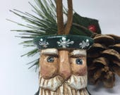Hand Carved Santa Sewing Spool Primitive Christmas Ornament