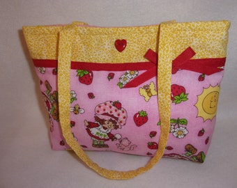 Strawberry Shortcake choose from 3 cute fabrics Boutique toddler tiny tot girls tote purse sweet add a name birthday gift party favors
