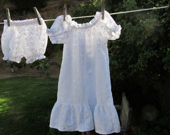 Shabby Chic Prairie Nightgown and Bloomers White Flowers Cotton Ready now!