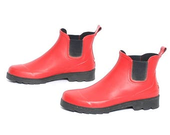 size 11 RALPH LAUREN red rubber 80s 90s RAIN chelsea boots