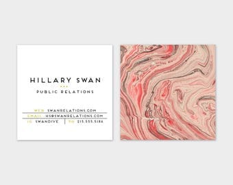 Coral + Grey Marble  Calling Cards | Business Cards | Blogger Cards | Set (50)