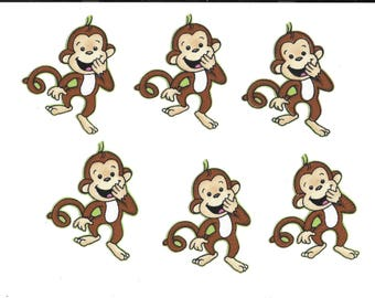Laughing monkeys w/green background, fabric iron-on appliques, 3 inches tall