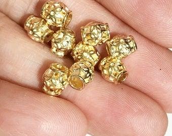 Bulk 300 pcs light gold Drum spacer beads 6x5.5mm,  Barrel spacer beads, metal spacer beads
