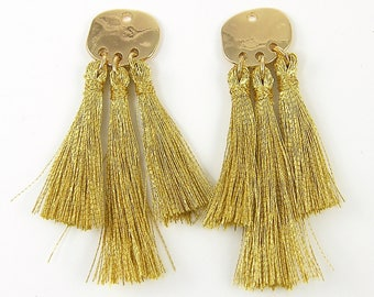 Gold Tassel Earring Findings, Gold Fringe Earring Dangles Jewelry Component |G|2