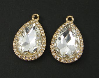 Clear Rhinestone Earring Findings, Large Clear Rhinestone Pendant, Clear Teardrop Pendant Earring Dangles |G17-7|2