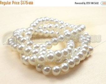 """30% Retirement Closeout - Soft White, Glass Pearl, 8mm Glossy Round, 15"""" Strand, 8S-GL8PWH-015-001"""
