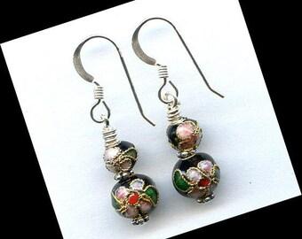 Black Cloisonne Sterling Silver Earrings